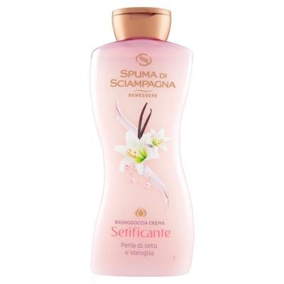 Spagna di Sciampagna Wohlwollende Seide Set Duschgel Creme mit Seidenperlen und Vanille 650 ml