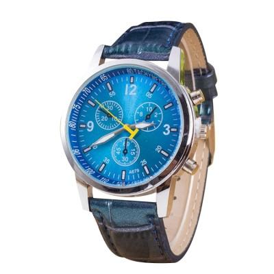 Leuchtend, Orologio con quadrant rotondo, con 3 funzioni, cinturino in bagger, per uomo, blau