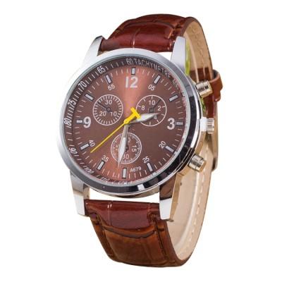 Luminoso, orologio con quadrante rotondo, tre tre 3 funzioni, cinturino in pelle, per uomo, marrone