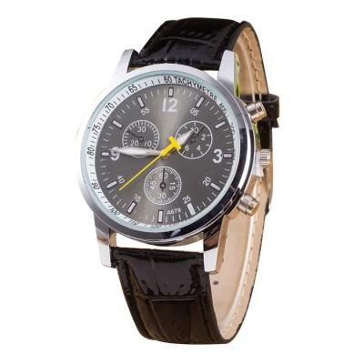 Luminous, Uhr mit rundem Zifferblatt, mit 3 Funktionen, Lederarmband, für Herren, schwarz