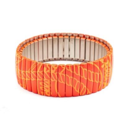 Damenarmband, Folli Follie, Orange, elastisch, stahl, 6 cm