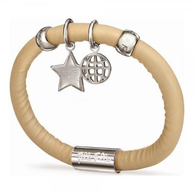 Armband für Damen, Folli Follie, elfenbeinfarben, 16 cm, aus Leder