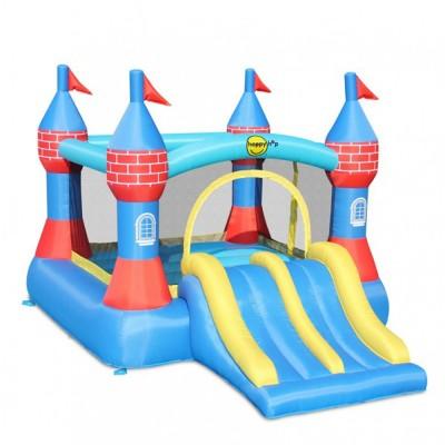 Große Hüpfburg, aufblasbar, Doppelrutsche, Kinderspiel, Sprungtuch, Happy Hop