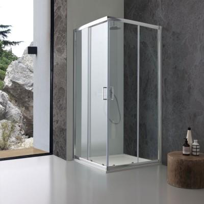 Cabine de douche d'angle 90 x 90 cm transparente
