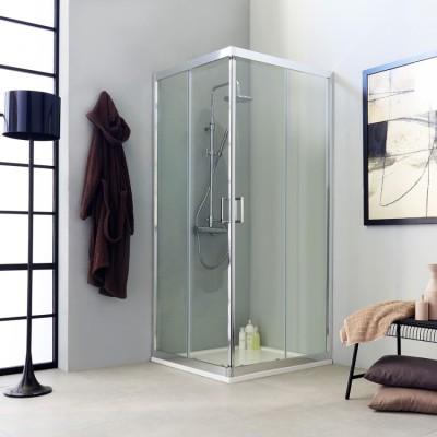 Paroi de douche, transparente, carrée 90x90, design, hauteur 195 cm
