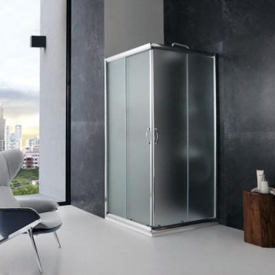 Cabine de douche d'angle, carrée, modèle en jade, 90x90 cm, verre cristal mat