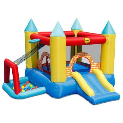 Großes Schloss, 4 in 1, aufblasbar, Doppelrutsche, Kinderspiel, Sprungtuch, Happy Hop