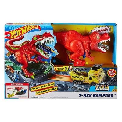 Hot Wheels T-Rex Attacke motorisiertes Spielset inkl. 1 Spielzeugauto und Soundeffekten