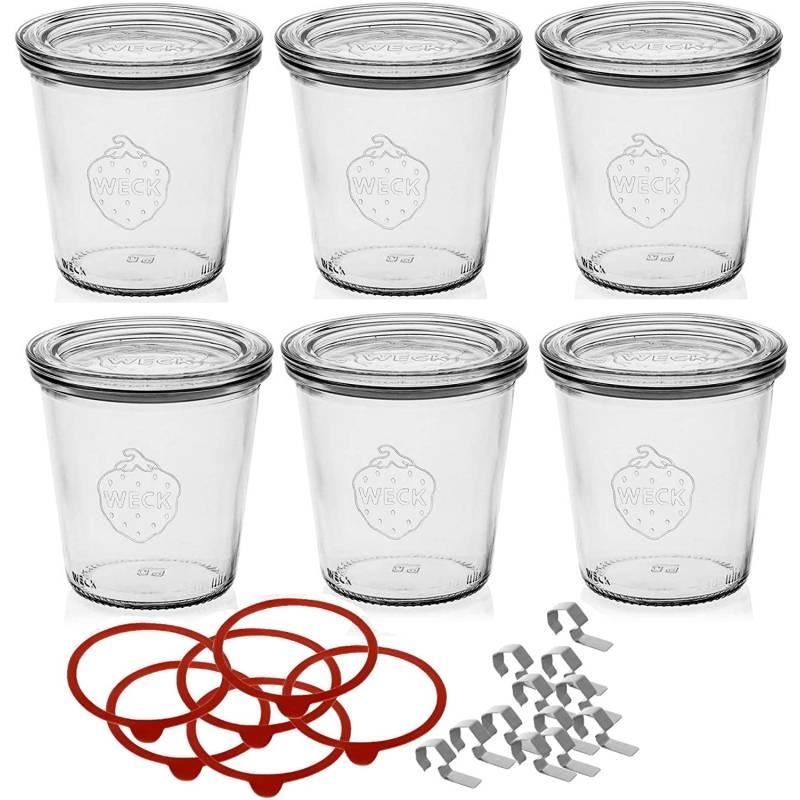 Weck glas 290 ml mit Deckel 80 mm, komplett mit Dichtung und Clips, 6er-Pack, Glas, transparent