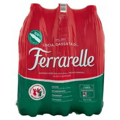 Ferrarelle Wasser, Brause, natürlich, 18 Flaschen 1,5 L