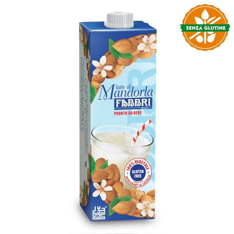 Mandelmilch, 100% pflanzlich, glutenfrei, Brik 1L, Fabbri
